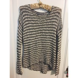 360 sweater gray and white striped sweater